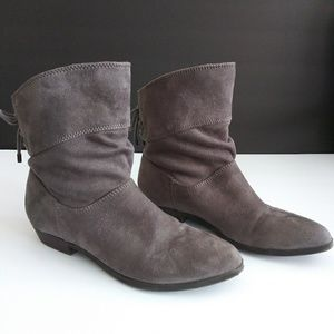 Indigo rd. Grey suede booties w/lace up bow detail